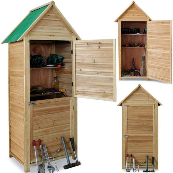 abri de jardin en bois cabane 190x79x49cm 2 tag res 2 portes verrouillables optimal pour. Black Bedroom Furniture Sets. Home Design Ideas