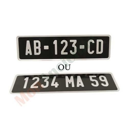 plaque d 39 immatriculation auto aluminium noire achat vente plaque immatriculation plaque d. Black Bedroom Furniture Sets. Home Design Ideas