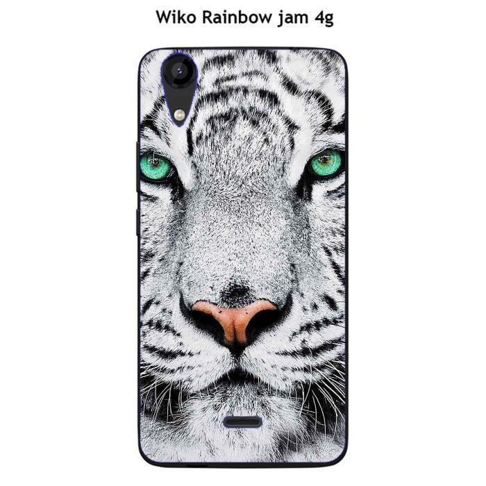 Coque Wiko Rainbow Jam 4G design Tigre Blanc - Cdiscount Téléphonie