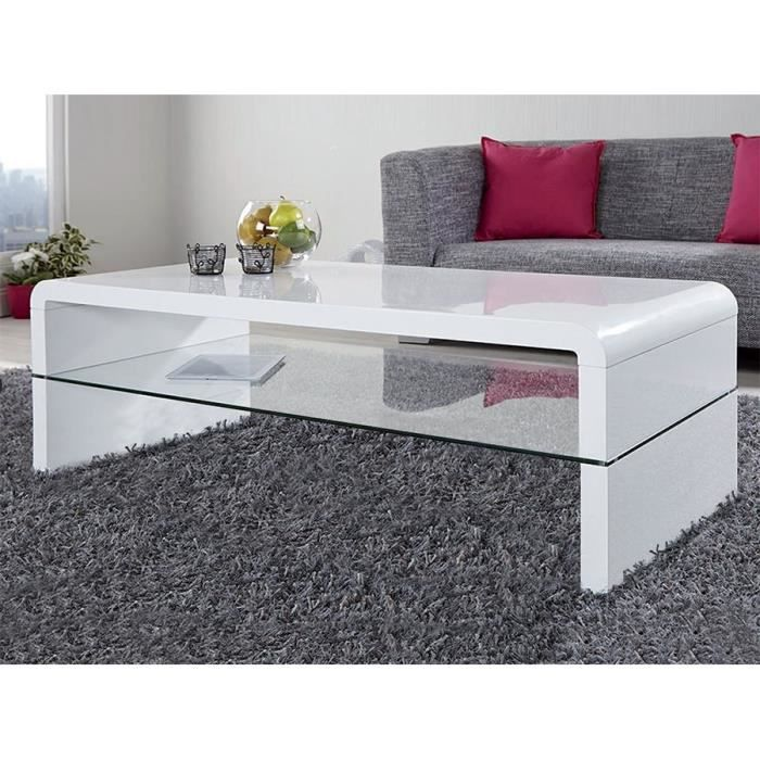 Table Basse Blanc Laque Design Marty 2 L 120 X P 60 X H 45 Cm