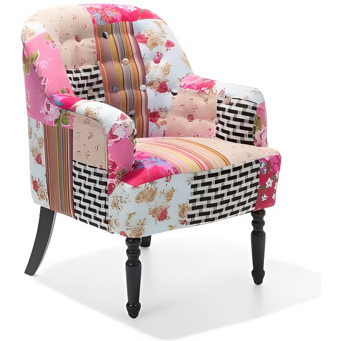 fauteuil patchwork fauteuil en tissu multicolore mandal achat vente fauteuil cdiscount. Black Bedroom Furniture Sets. Home Design Ideas