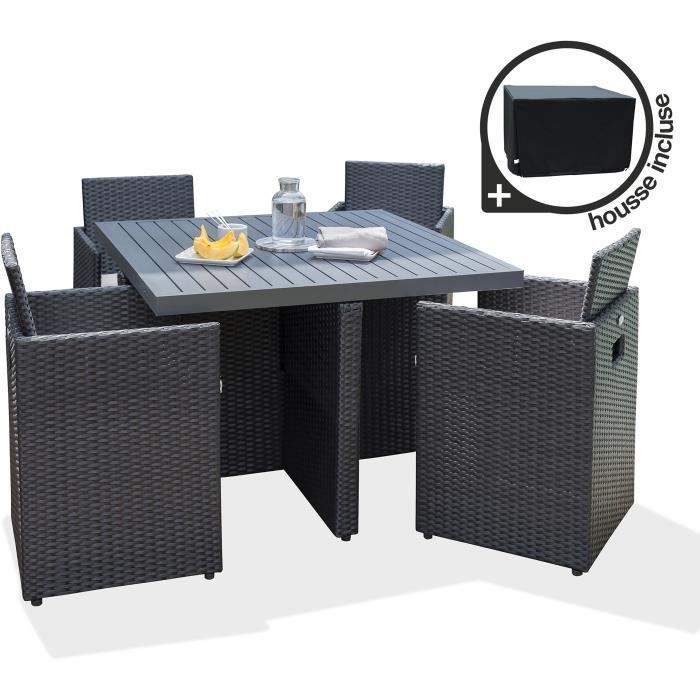Table jardin avec chaise encastrable