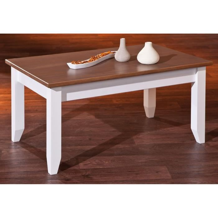 Table basse bois massif westerland 2 2 bicolore achat for Table bois bicolore