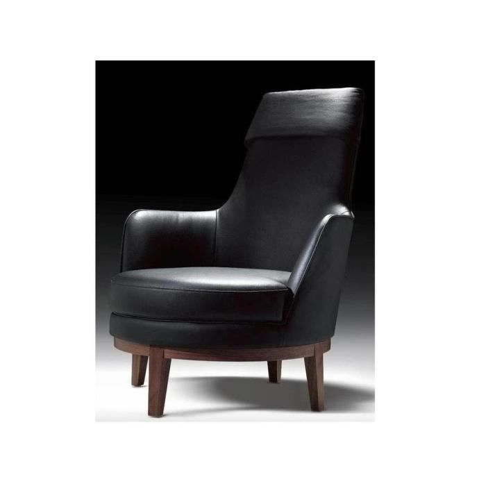 fauteuil cuir brittany noir achat vente fauteuil. Black Bedroom Furniture Sets. Home Design Ideas