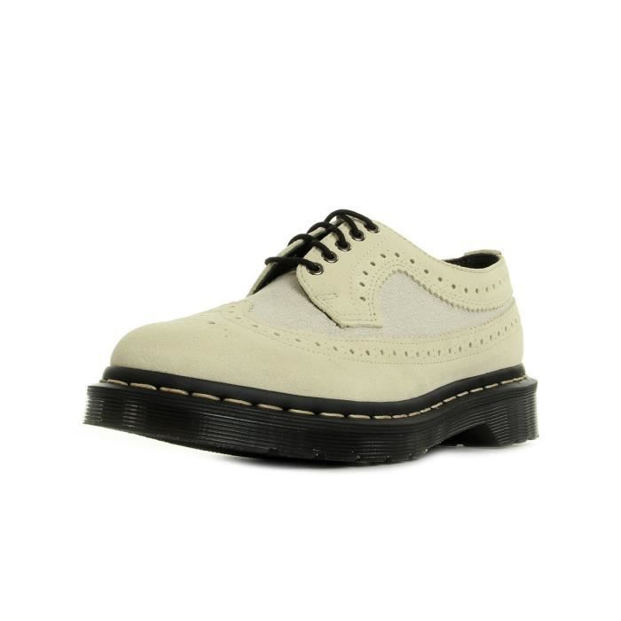 Chaussures Dr Martens 3989 Mix Bone Washed Canvas & Porcelain Hi Suede Wp