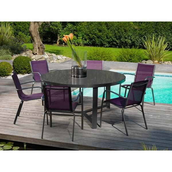 Salon de jardin alu 6 places royal grey cassis achat vente salon de jar - Salon de jardin 6 places ...