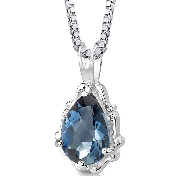 collier argent topaze bleu