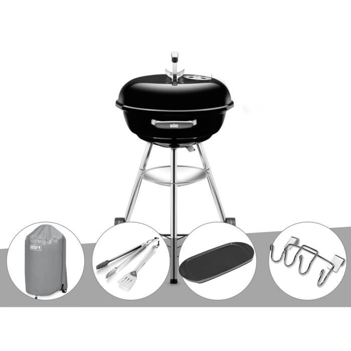 Barbecue Weber Compact Kettle 47 cm + Housse + Kit Ustensile + Plancha +  Support Accessoires