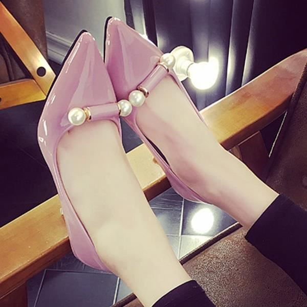 Escarpin Rouge 7 élégantes perle bowknot unique Toe Stiletto Pointu Mid Heel Asakuchi carrière