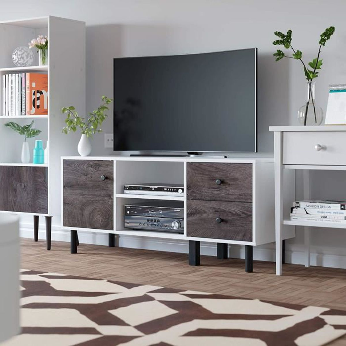 Meuble Tv De Salon homfa meuble tv table salon bas bois avec porte et etageres scandinave  television 119x40x52cm