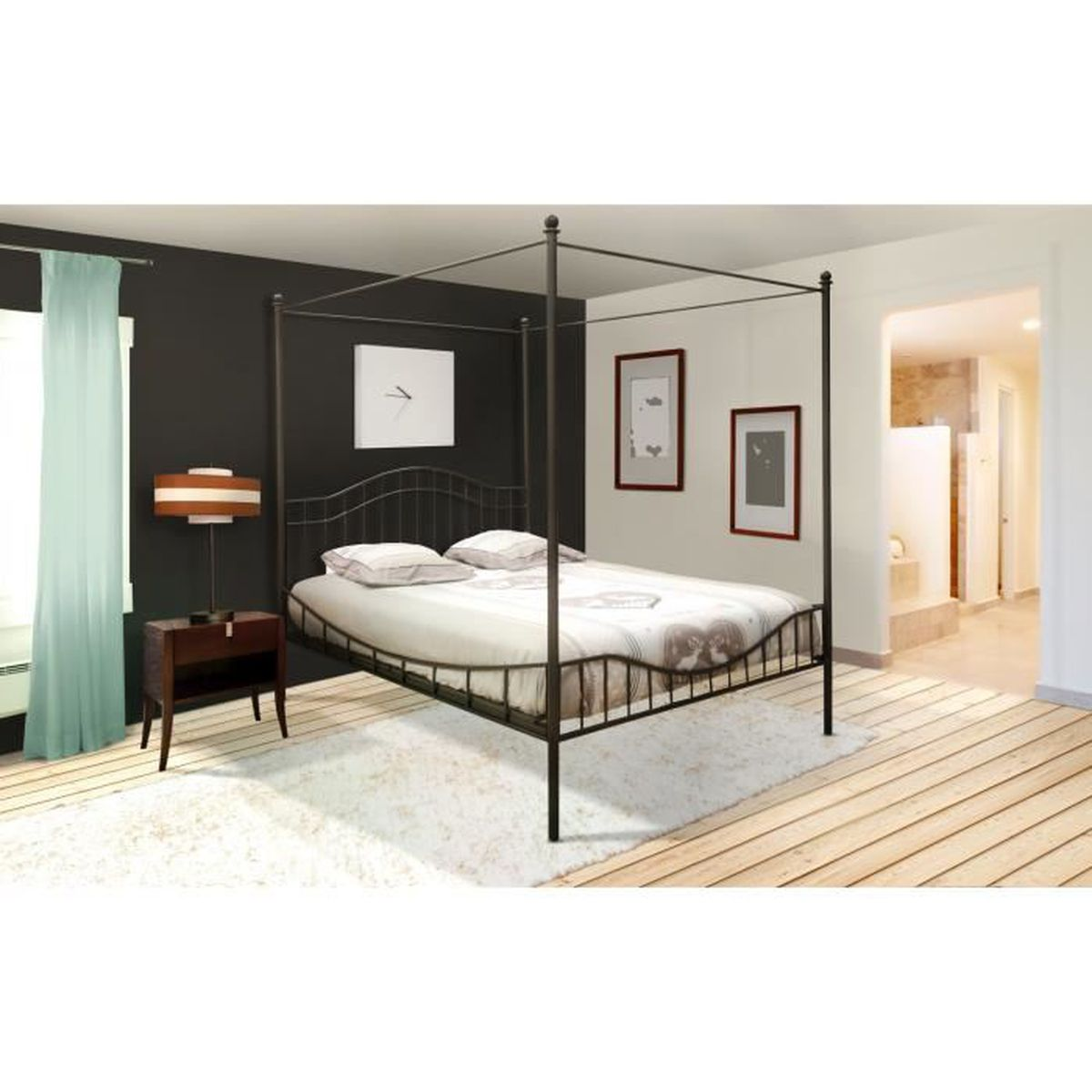 lit baldaquin 2 personnes 140x190 cm noir avec sommier. Black Bedroom Furniture Sets. Home Design Ideas