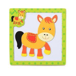 PUZZLE Puzzle 3D en bois magnétique animal  Poney # cbas-