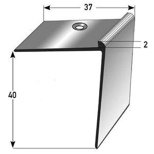 couleur: bronze clair for/é sans insert Nez de marche // Corni/ère pour escaliers aluminium anodis/é 45 mm x 58 mm