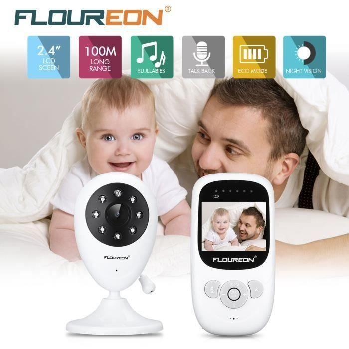 FLOUREON Bébé Moniteur 2.4 Pouces,Baby Phone Caméra Numérique de Sécurité Sans Fil,Surveillance de la température,Gris