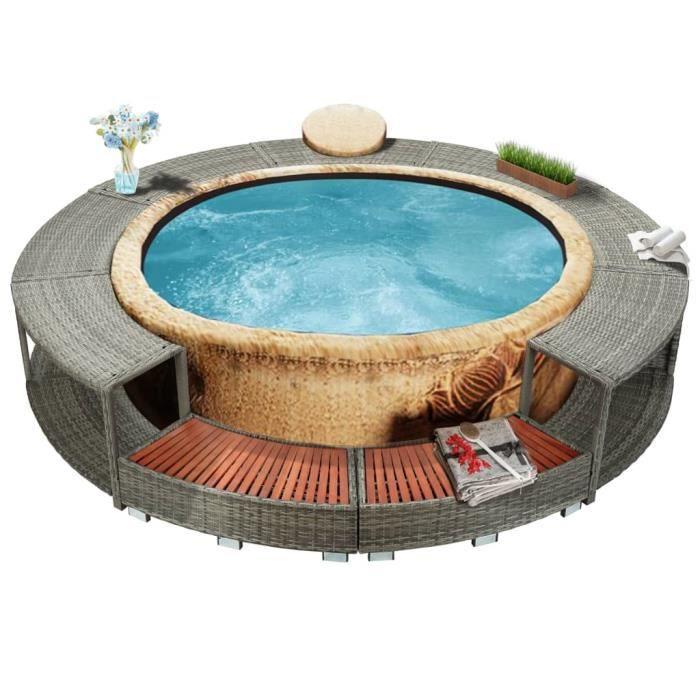 *EXP#1511Ergonomique Cadre de spa Contour de Spa Jardin Extérieur Haute qualité - SPA COMPLET - KIT SPA Gris Résine tressée
