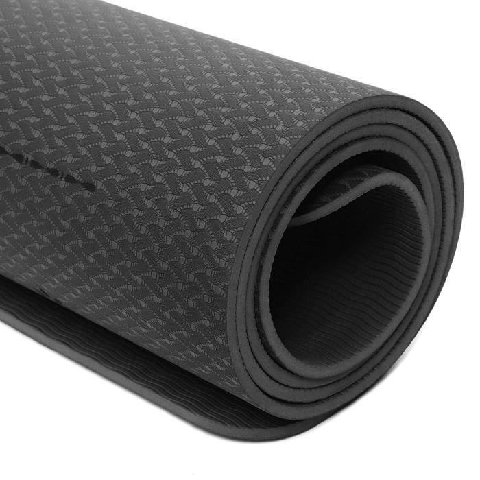 Tapis de Yoga Tapis de Sol Fitness Anti-dérapant Durable 183 X 61 X 0.6cm NOIR Fe55870