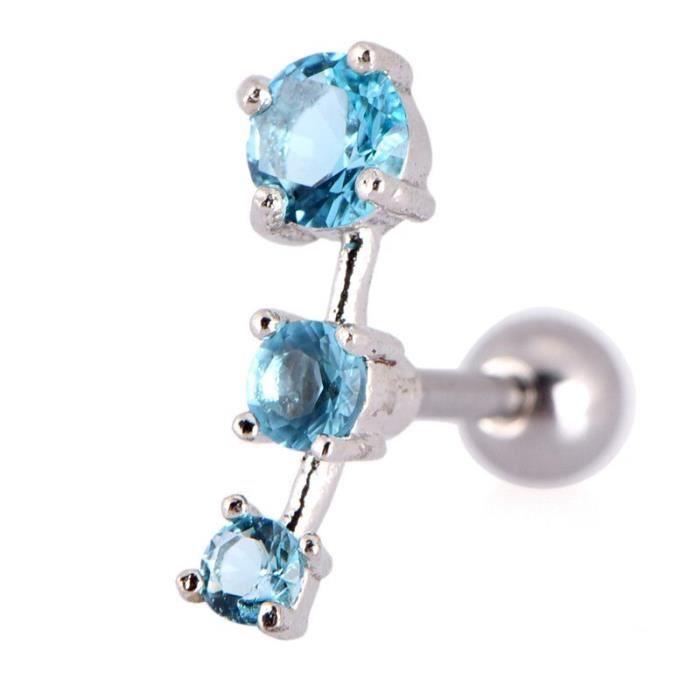 1 PC femmes acier inoxydable Zircon Tragus boucle d'oreille Piercing oreille Cartilage anneau bijoux blanc MC2375