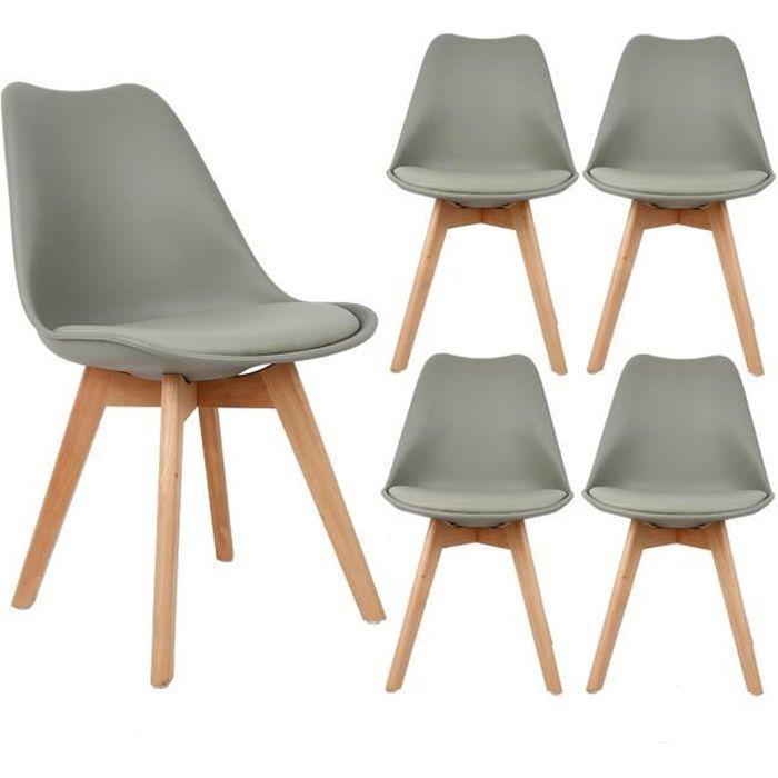 Lot de 4 chaises scandinave Gris avec coussin super qualité