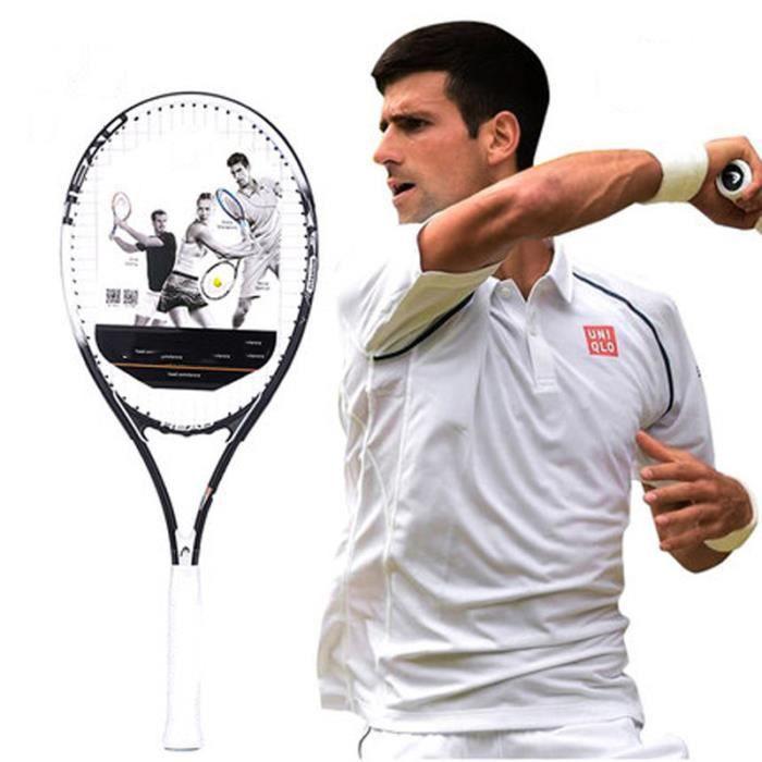 Raquette de tennis professionnel débutant raquette de tennis en fibre de carbone sac à cordes sac de tennis amortisseur de surcharge