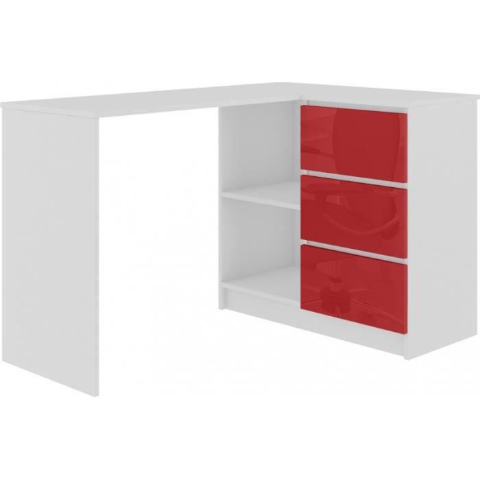 SUNDAR - Bureau informatique d'angle moderne 124x85x77 - 3 tiroirs + 2 grandes niches - Blanc-Rouge laqué