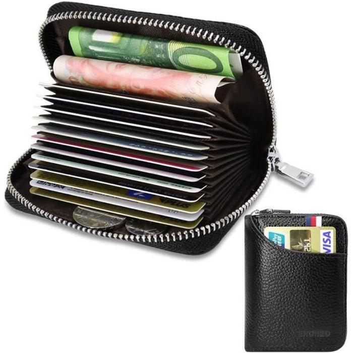 Porte Cartes de Crédit Cuir RFID pour Les Femmes Homme avec 13 Fentes pour Cartes et 2 Compartiments pour Pièce d'argent