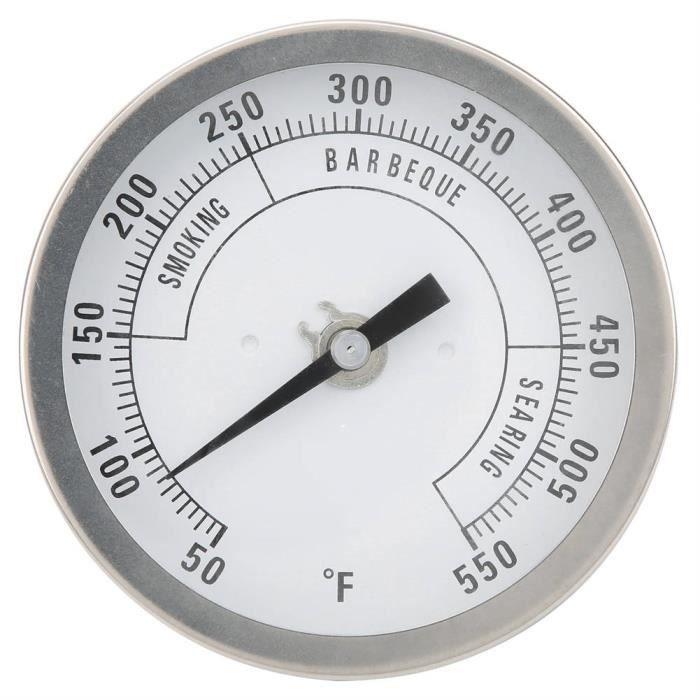 Zerone Thermomètre à barbecue Thermomètre à Pointeur en Acier Inoxydable NPT 1/2po Réglable 3 po pour Barbecue Gril Four