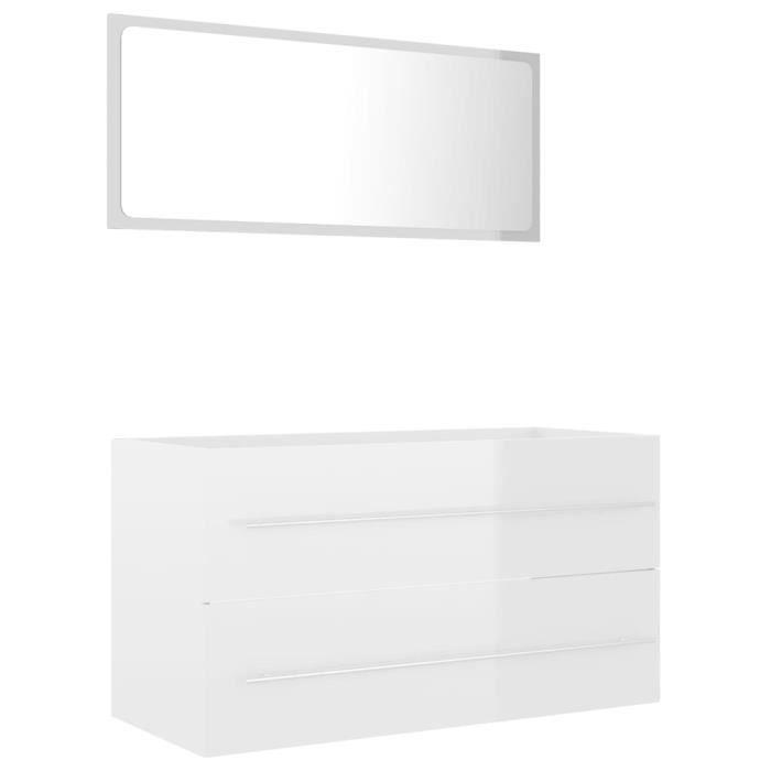 Le meilleur* -504304- Ensemble de meubles de bain 2 pcs - Ensemble Meuble de salle de bain Mobilier de salle de bain Blanc brillant