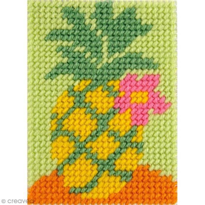 Kit canevas pour enfant - L'ananas Kit créatif broderie canevas pour enfant: hème /motif: L'ananasNiveau : FacileCollection : KIDS