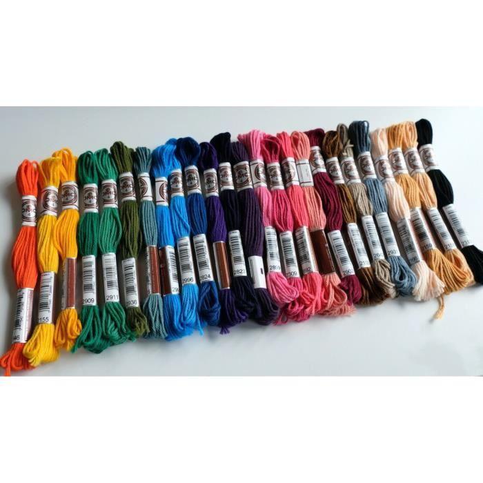 DMC Fils à broder canevas bracelet Retors mat - Lot de 25 coloris assortis.