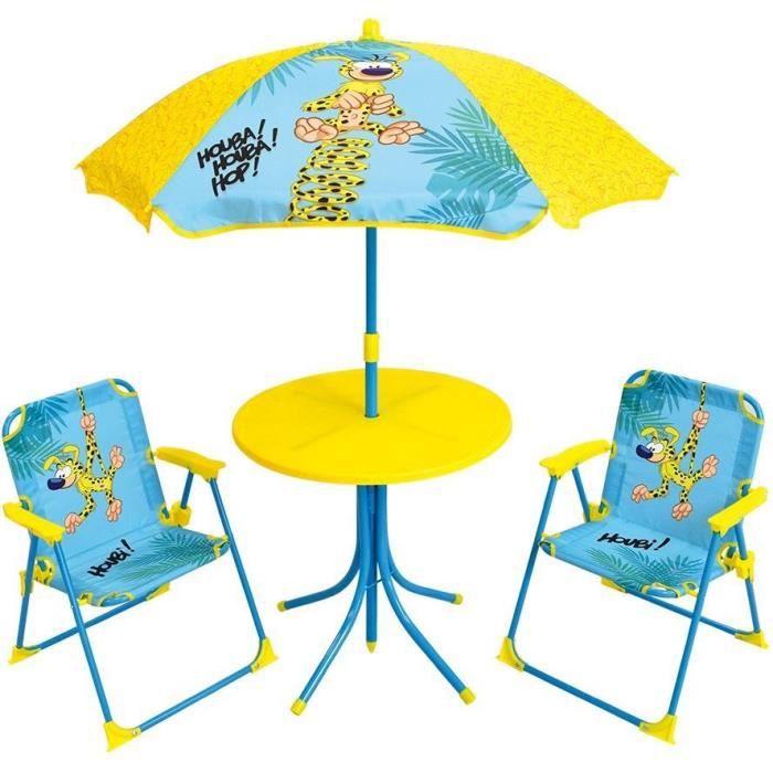 MARSUPILAMI Salon de jardin pour enfants comprenant 1 table, 2 chaises pliantes et 1 parasol