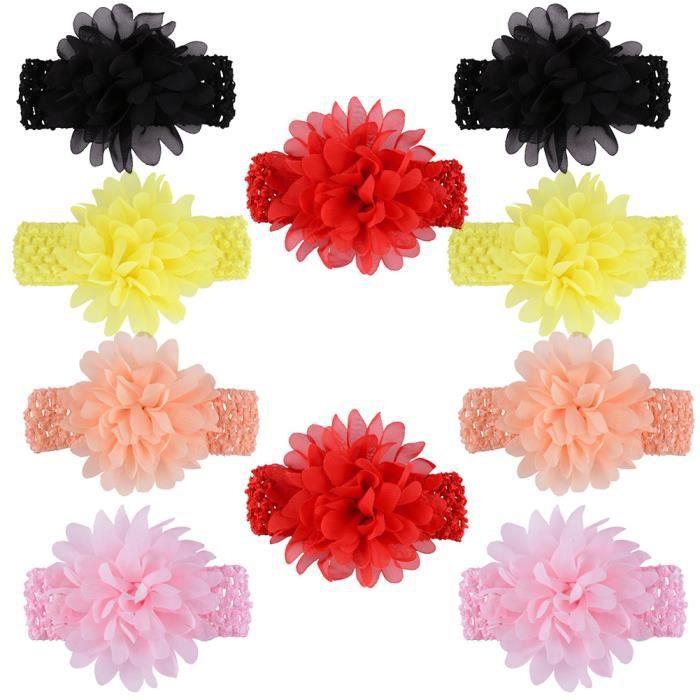 10pcs couleurs assorties Bébés filles Bandeaux en mousseline de soie Fleur dentelle bande Accessoires cheveux pour nourrissons New