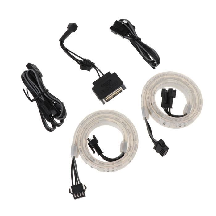 Pack Composant Bande Led Rgb 2 Pièces Câble de connexion de carte mère Rvb 1 pièce 1 morceau de câble étendu