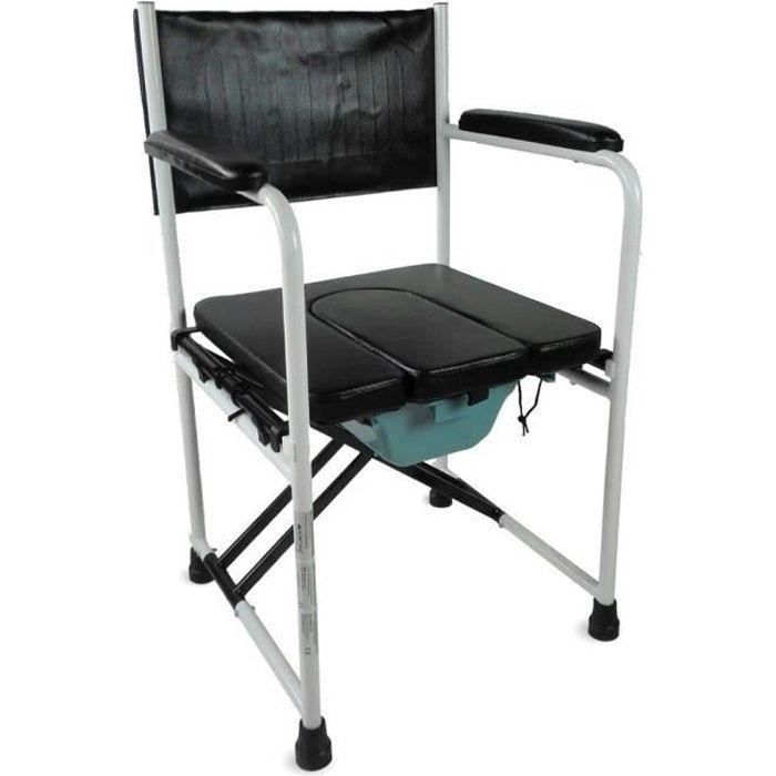 Chaise percée/toilette - Avec couvercle et pliage - Acier chromé - Ebro - Mobiclinic