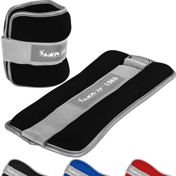 MOVIT Bandes lestées pour poignets 2x1,5kg, néoprène noir