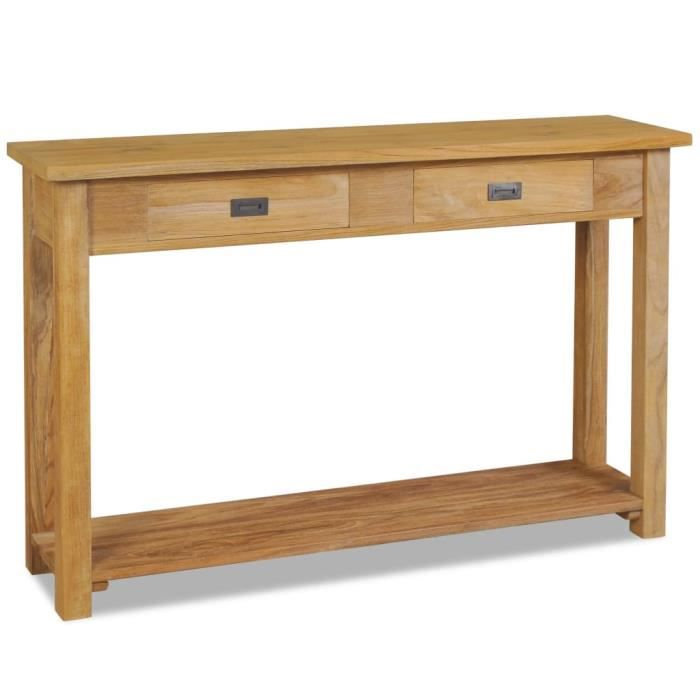 Table console Teck massif 120 x 30 x 80 cm