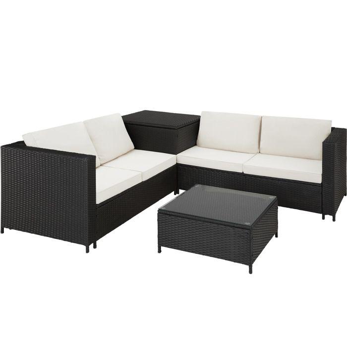 TECTAKE Salon de jardin SIENNE 4 Places avec 2 Canapés modulables + 1 Table basse en Résine tressée + Coffre Noir