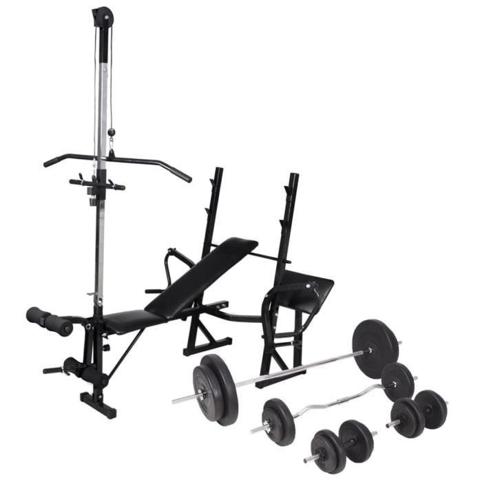 vidaXL 90 kg Banc d'entraînement avec support de poids jeu d'haltères