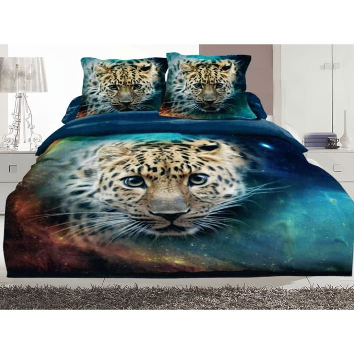 housse de couette imprim 2 personnes 220x240 3d jaguar rosalit achat vente housse de. Black Bedroom Furniture Sets. Home Design Ideas