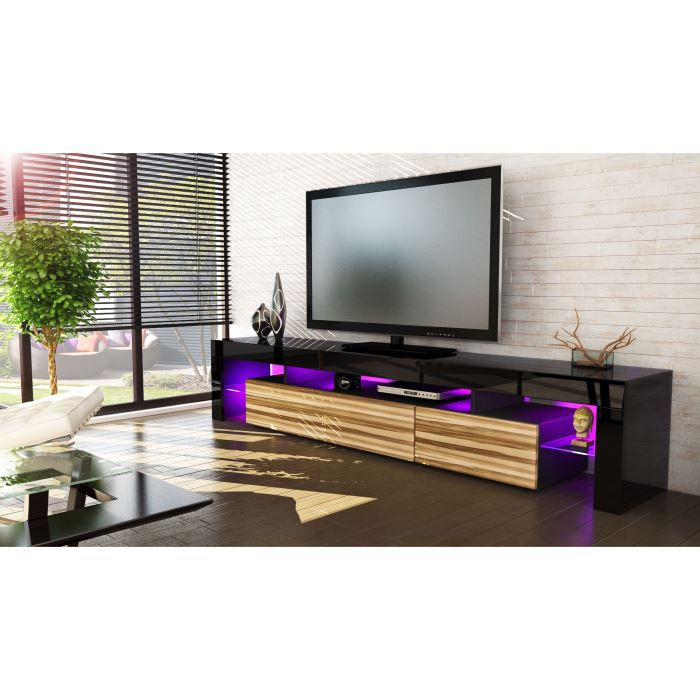 meuble tv 199x35x38 laqu noir et bois nervur o achat vente meuble tv meuble tv 199x35x38. Black Bedroom Furniture Sets. Home Design Ideas