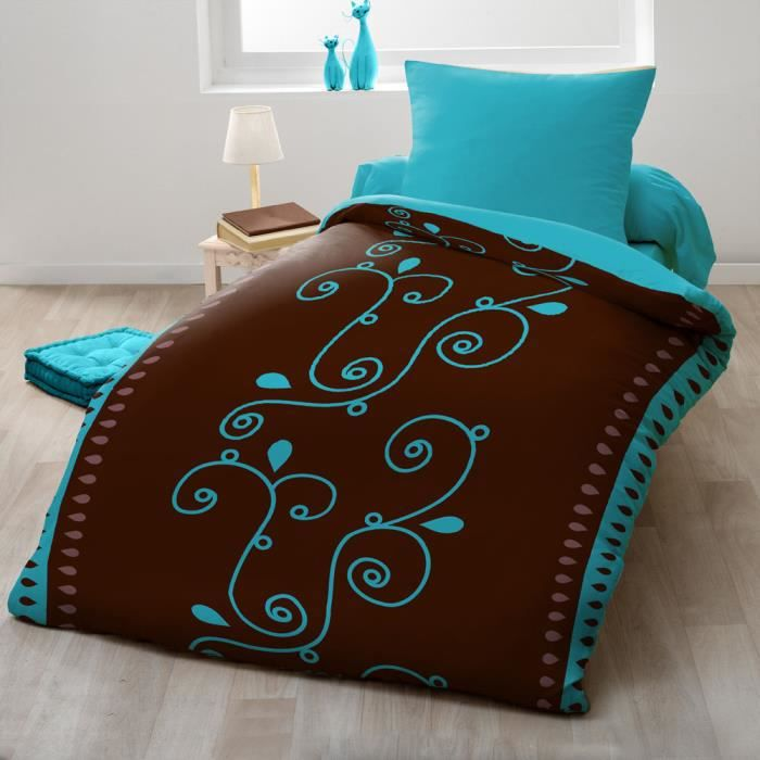 couette imprim e microfibre 140x200 cm cacao turquoise achat vente couette cdiscount. Black Bedroom Furniture Sets. Home Design Ideas