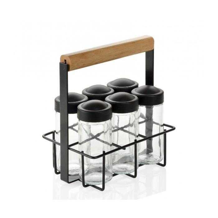 Lot de 3 pots /à /épices en verre avec /étag/ère en m/étal