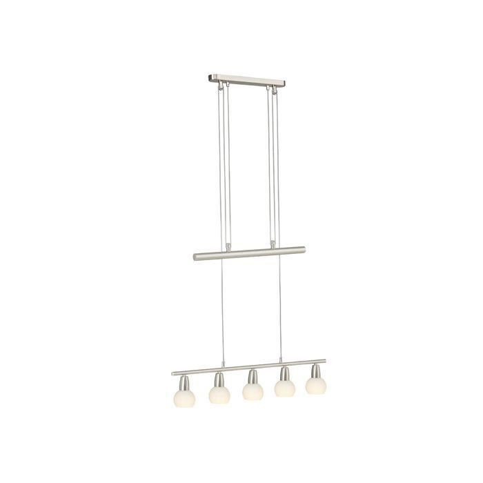 Suspension 5 lumières MONA -5x40W E14 -ACIER/ALBATRE - BRILLIANT - 93249_77