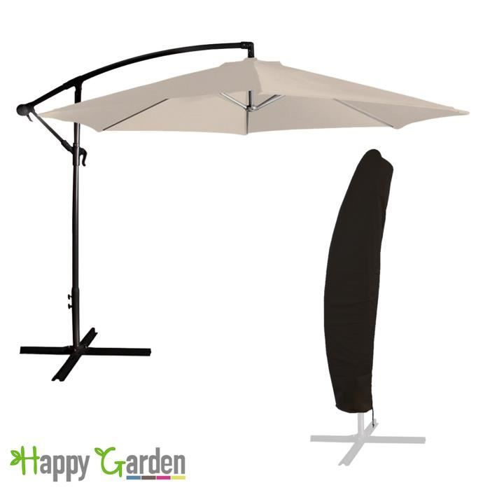 parasol d port rond 3 5m beige inclinable housse achat vente parasol parasol d port. Black Bedroom Furniture Sets. Home Design Ideas