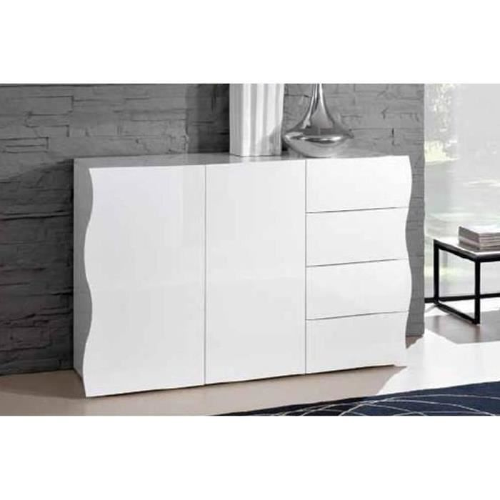 Commode VAGUE 4 tiroirs et 2 portes blanc brillant. - Achat ...
