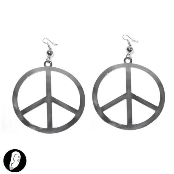 Boucles d 39 oreilles argent peace and love hippie achat - Boucle d oreille peace and love ...