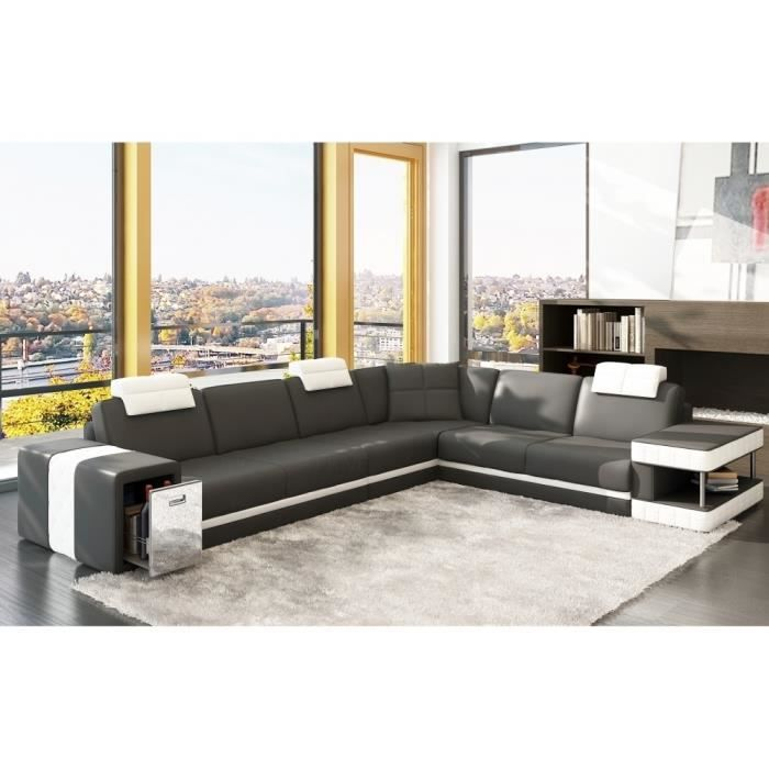 canap d 39 angle en cuir italien 6 7 places john achat vente canap sofa divan cdiscount. Black Bedroom Furniture Sets. Home Design Ideas