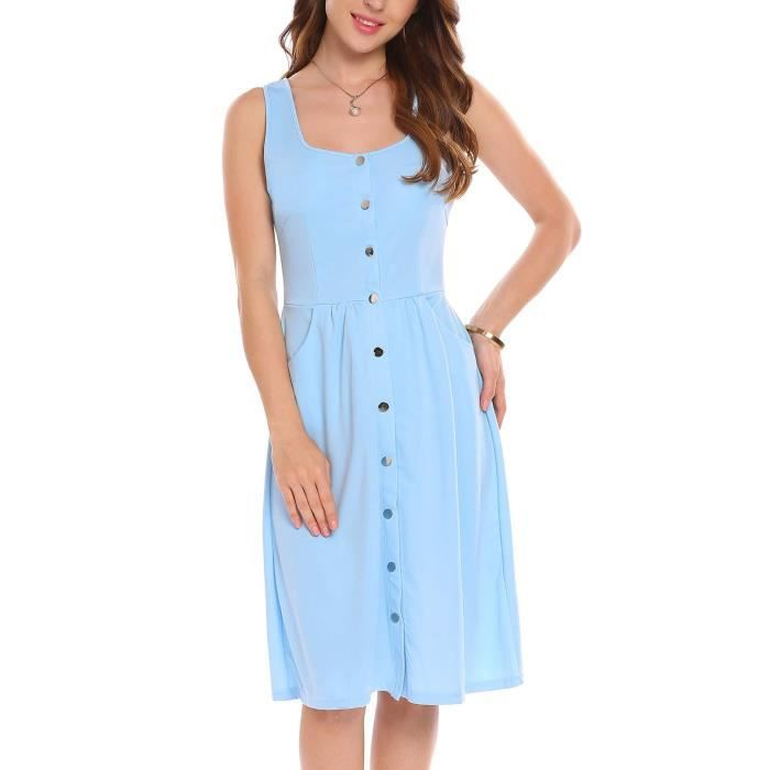 Femmes robe sexy col carré casual