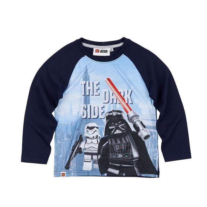 Lego Star Wars T Shirt Manches Longues Garçon Dark Vador Imprimé White