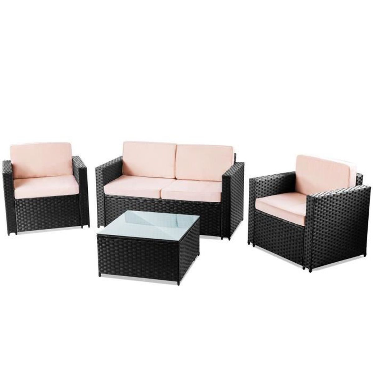 Set mobilier jardin terrasse MESSINA 4pc canapé ratan ...