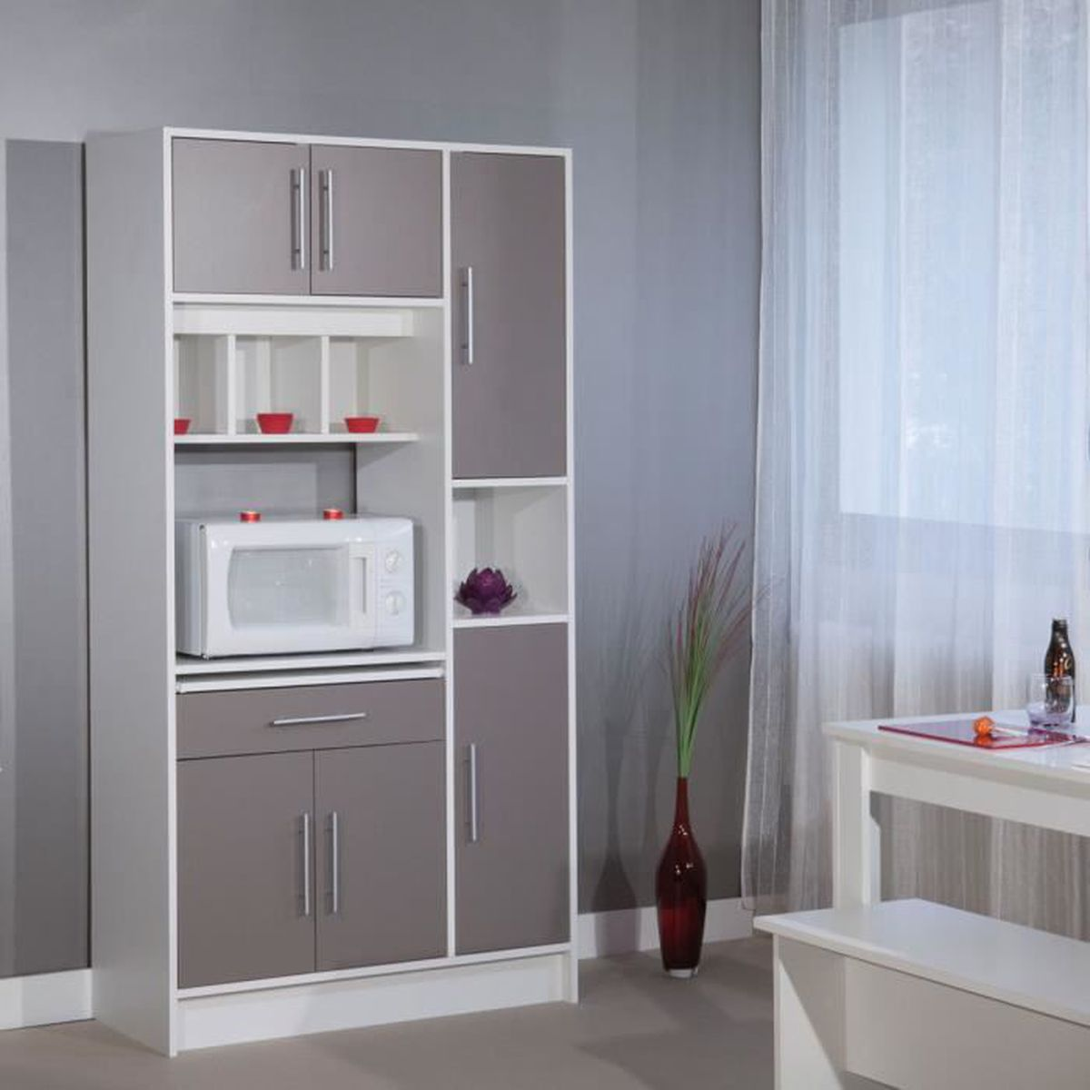 buffet micro ondes 6 portes 1 tiroir 4 niches taupe blanc taupe blanc achat vente buffet. Black Bedroom Furniture Sets. Home Design Ideas